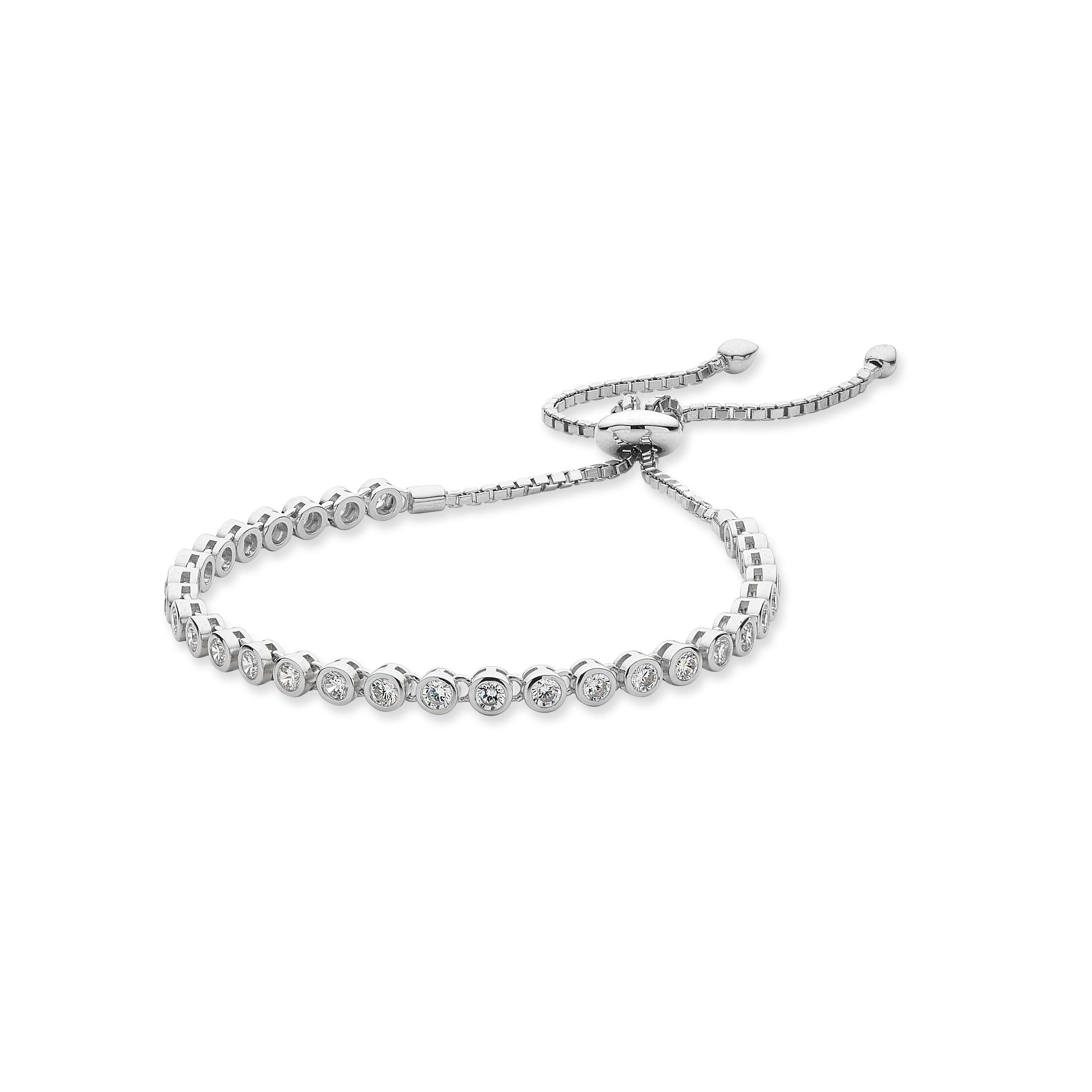 Sterling Silver Cubic Zirconia Adjustable Friendship Bracelet