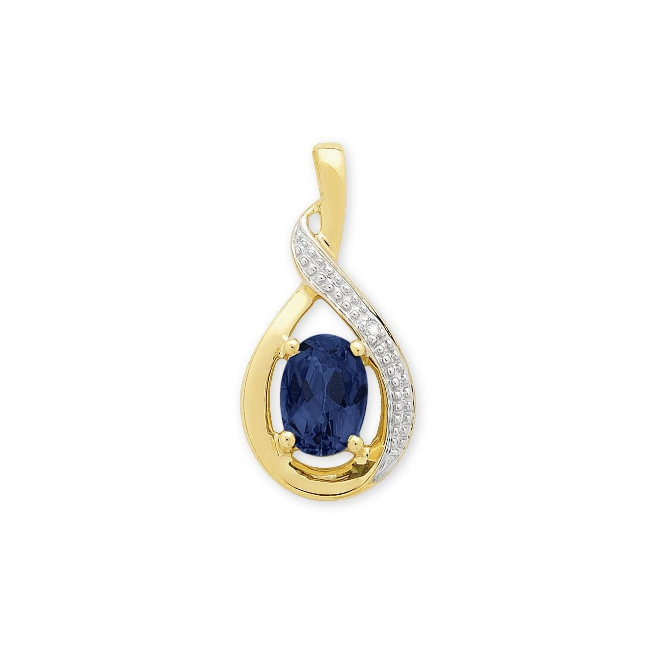 9ct Gold Created Sapphire & Diamond Pendant with Complimentary Plated Chain