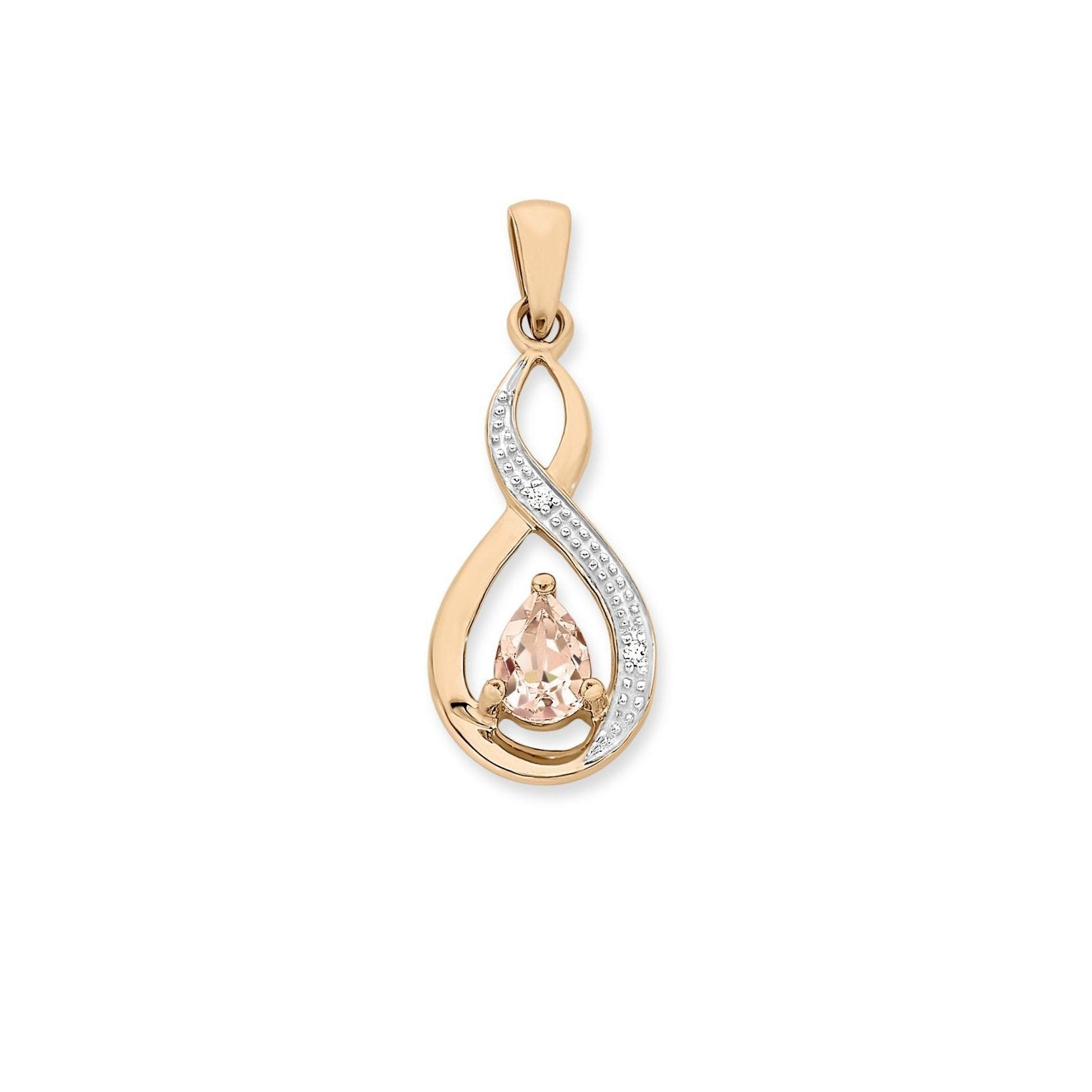 9ct Rose Gold Morganite & Diamond Pendant with Complimentary Plated Chain