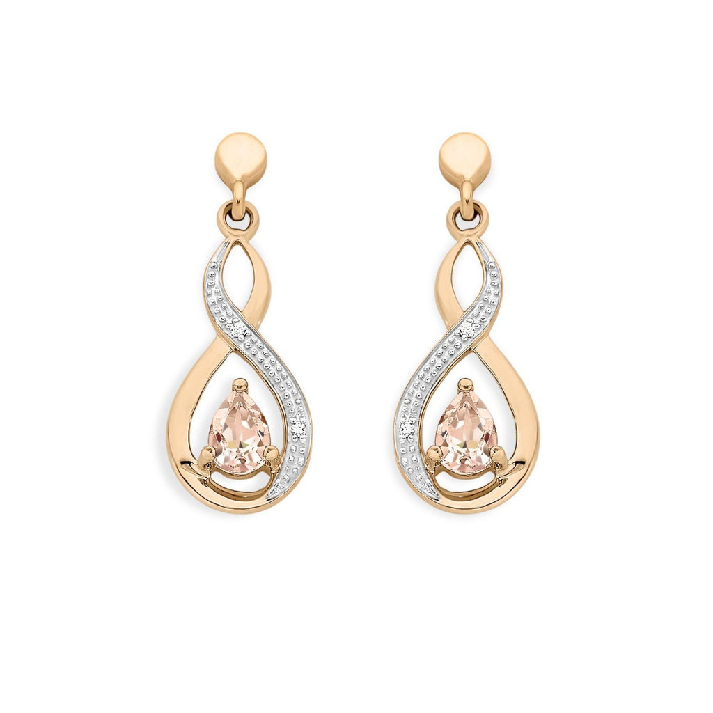 9ct Rose Gold Morganite & Diamond Earrings