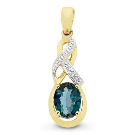 9ct Gold London Blue Topaz & Diamond Pendant with Complimentary Plated Chain