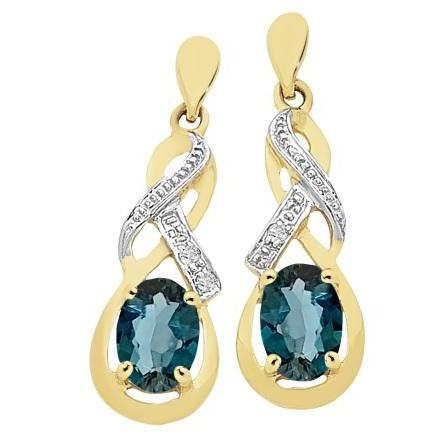 9ct Gold London Blue Topaz & Diamond Earrings