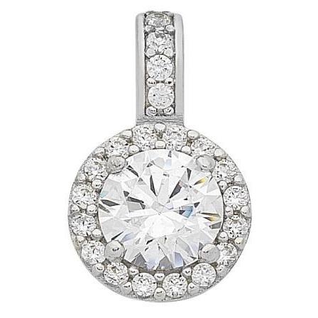 9ct White Gold Cubic Zirconia Pendant with Complimentary Plated Chain