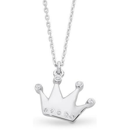 Sterling Silver Children's Cubic Zirconia Crown Pendant with Complimentary Chain