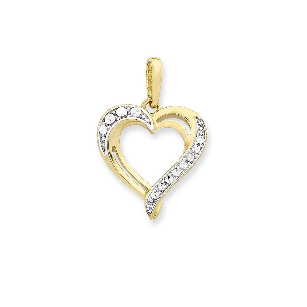 9ct Gold Cubic Zirconia Heart Pendant with Complimentary Plated Chain