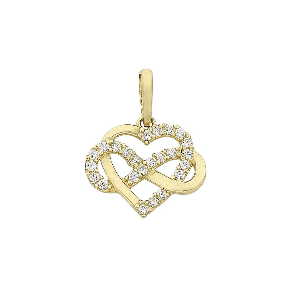 9ct Gold Cubic Zirconia Infinity Heart Pendant with Complimentary Plated Chain
