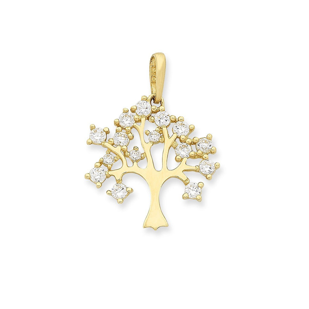 9ct Gold Cubic Zirconia Tree Pendant with Complimentary Plated Chain