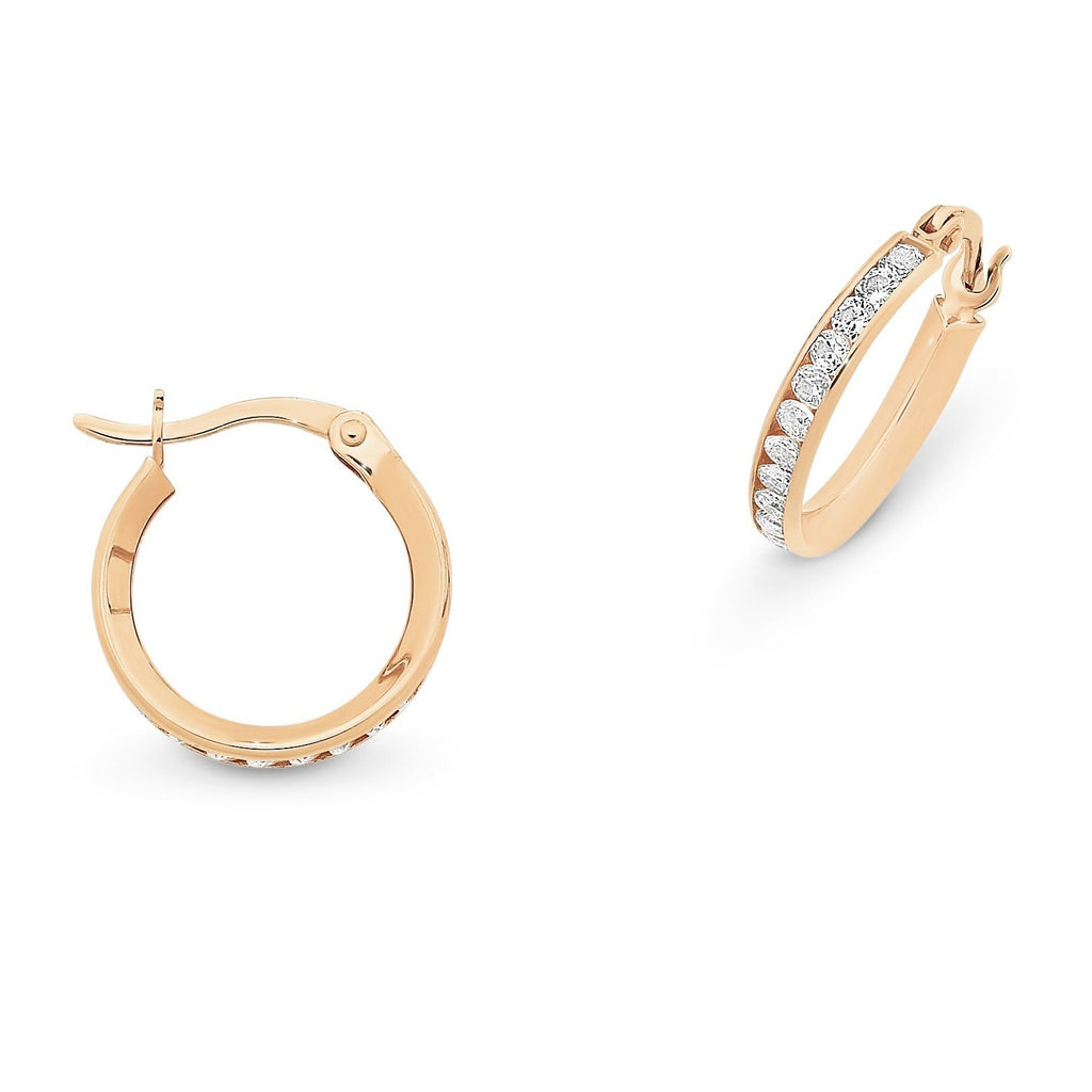 9ct Rose Gold Cubic Zirconia Hoops