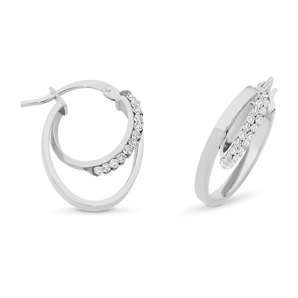 9ct White Gold Silver Filled Double Hoop Earrings with Swarovski Crystals
