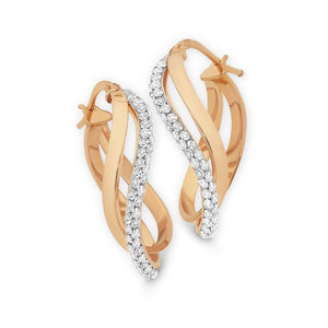 9ct Rose Gold Silver Filled Double Hoop Earrings with Swarovski Crystals