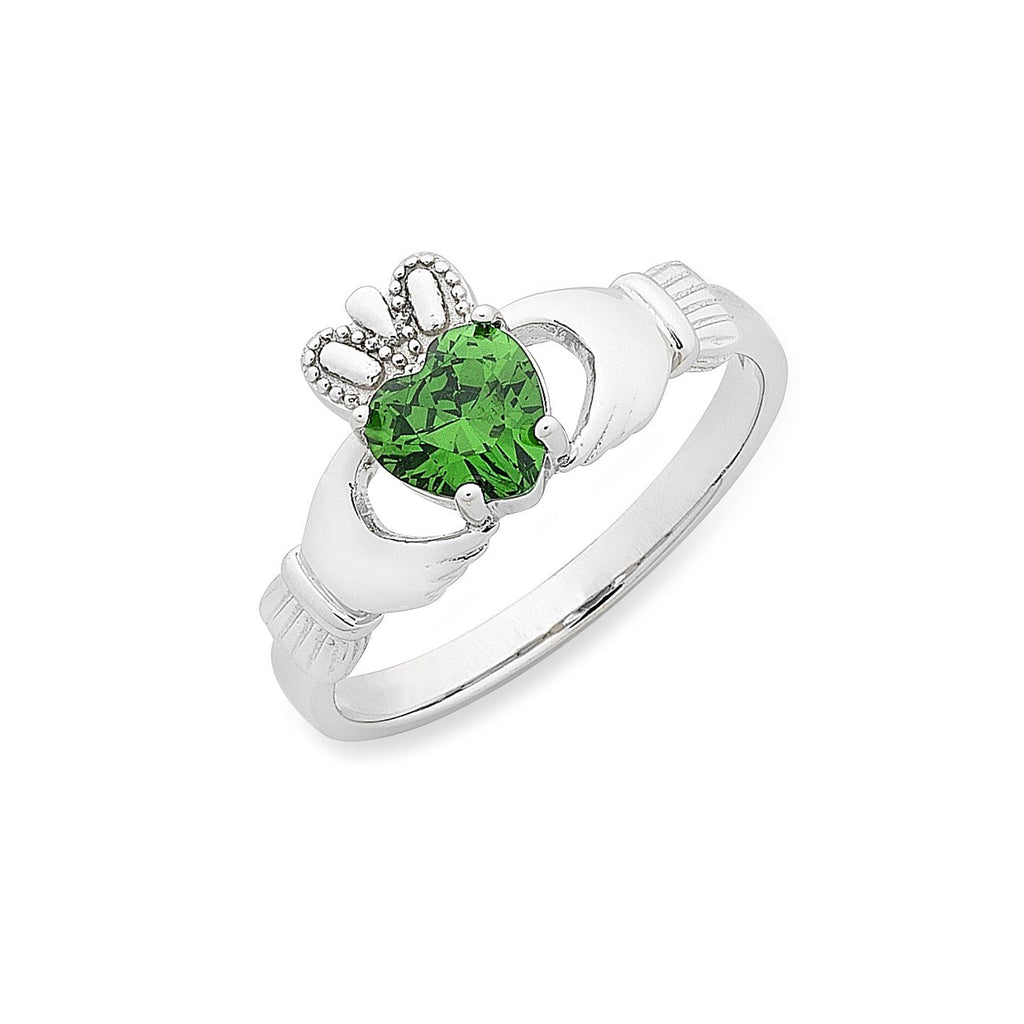 Sterling Silver 'Claddagh' Love, Loyalty & Friendship with Green Cubic Zirconia Ring