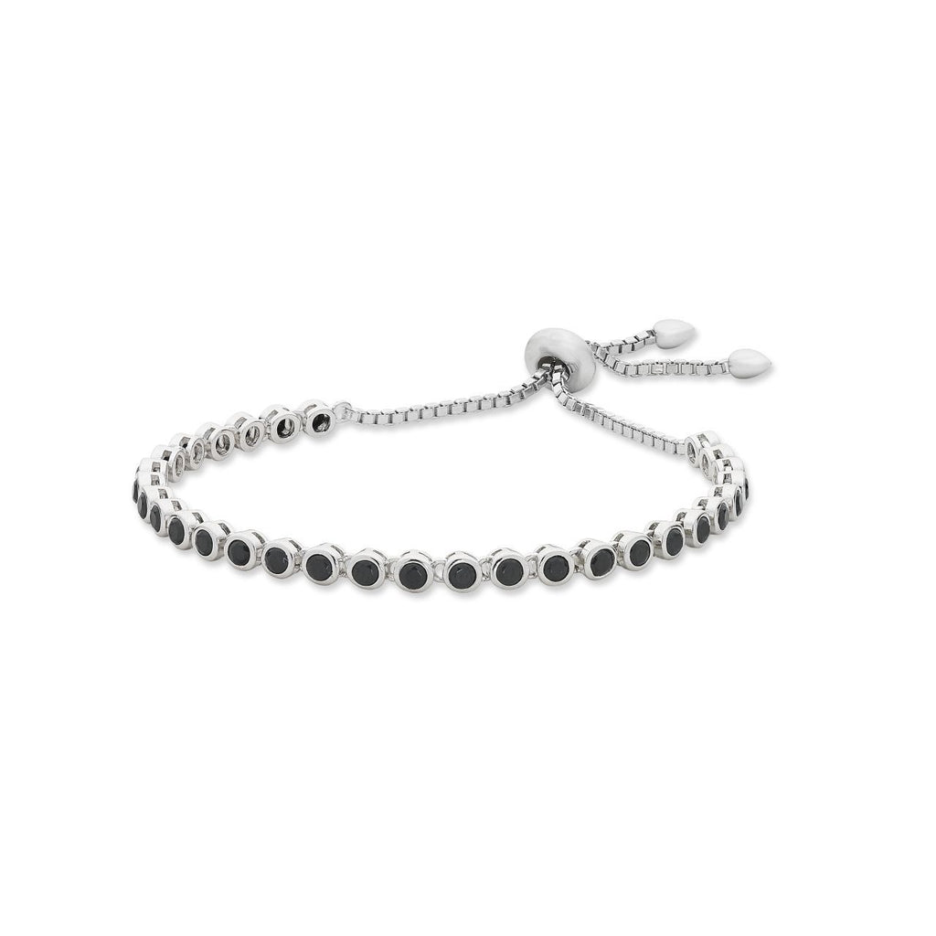 Sterling Silver Black Cubic Zirconia Friendship Bracelet
