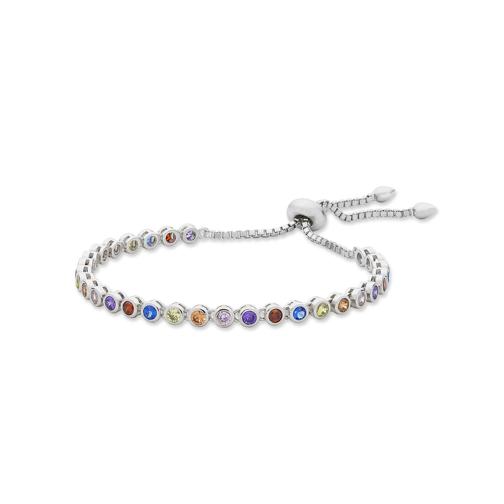Sterling Silver Multi Coloured Cubic Zirconia Friendship Bracelet