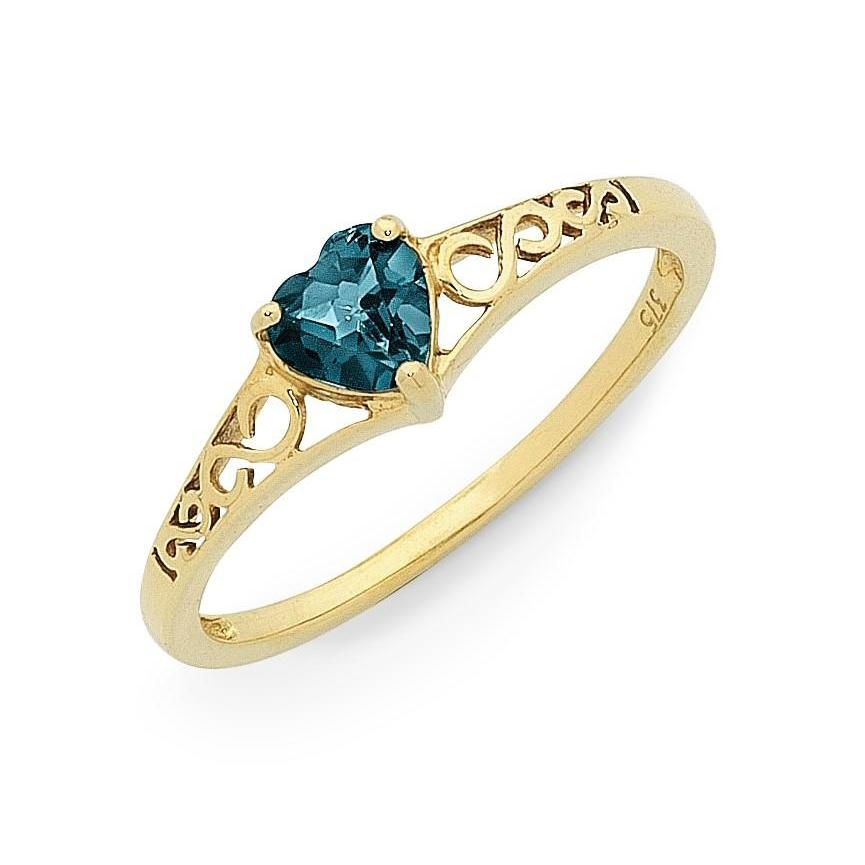 9ct Yellow Gold Heart Shaped London Blue Topaz Ring
