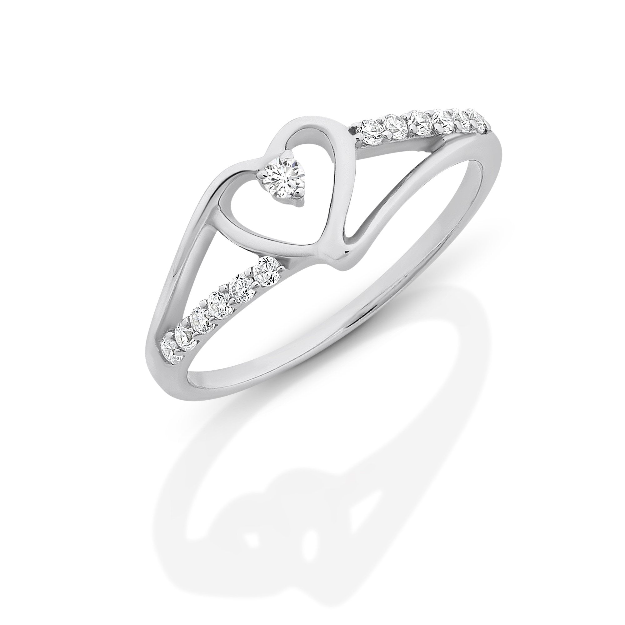 Sterling Silver Heart Cubic Zirconia Ring