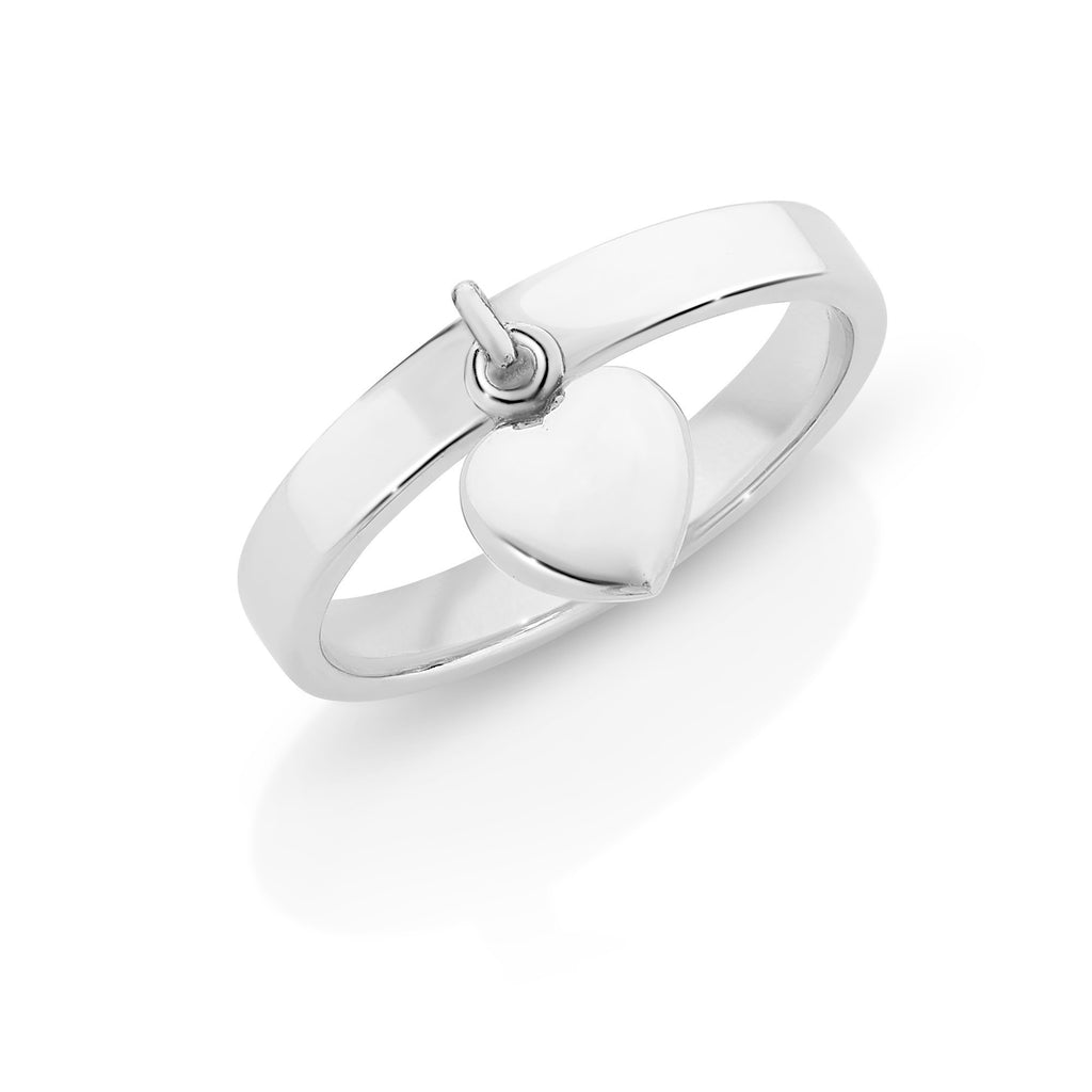Sterling Silver Ring with Heart Charm