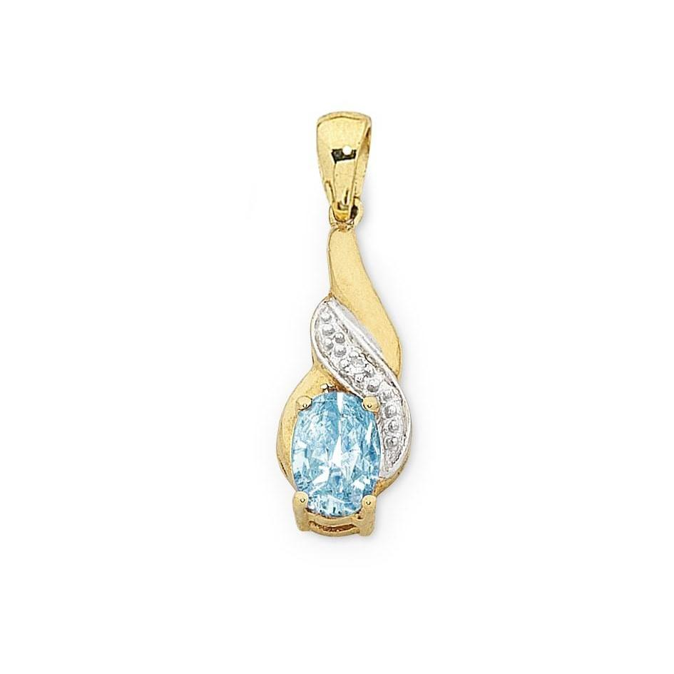 9ct Gold Blue Topaz & Diamond Pendant with Complimentary Gold Plated Chain