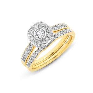 9ct Gold 1/2CT TDW Diamond Bridal Set