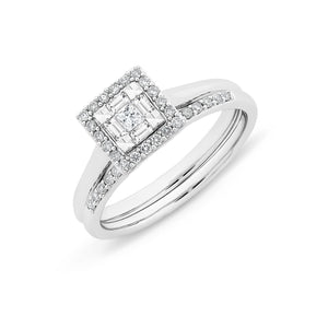 9ct White Gold 1/3CT TDW Diamond Bridal Set