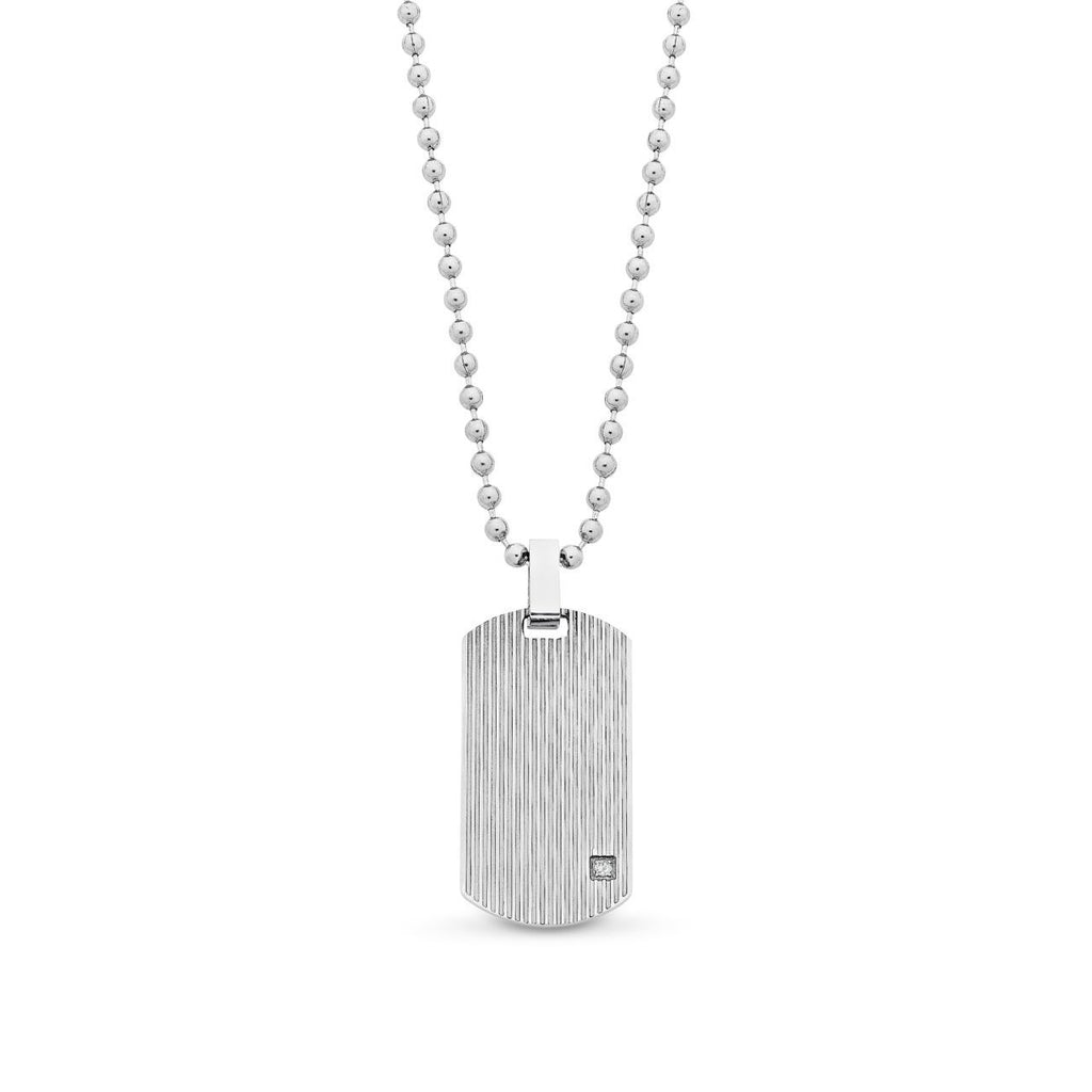 Stainless Steel Tag Pendant Crystal Set with Chain