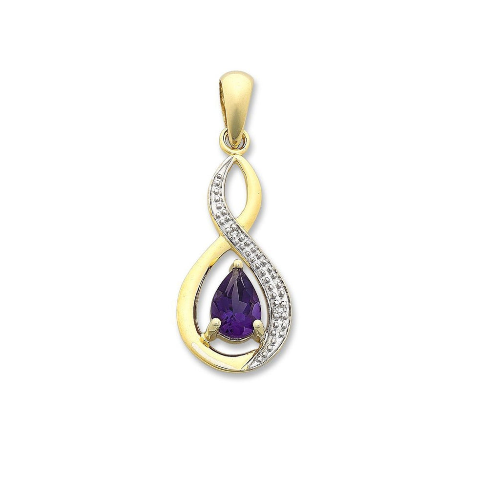 9ct Gold Amethyst & Diamond Pendant with Complimentary Gold Plated Chain