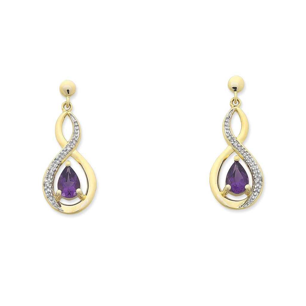 9ct Gold Amethyst & Diamond Earrings