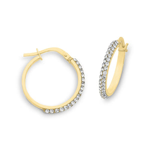 9ct Gold Silver Filled Hoop Earrings with Swarovski Crystals