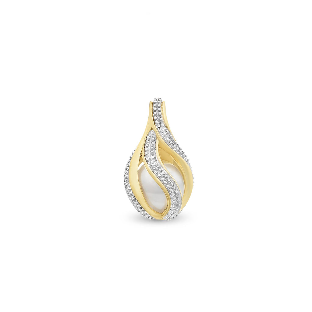 9ct Gold Freshwater Pearl & Diamond Pendant with Complimentary Plated Chain