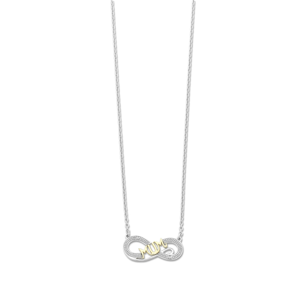 9ct Gold and Sterling Silver Diamond 'Mum' Infinity Necklace
