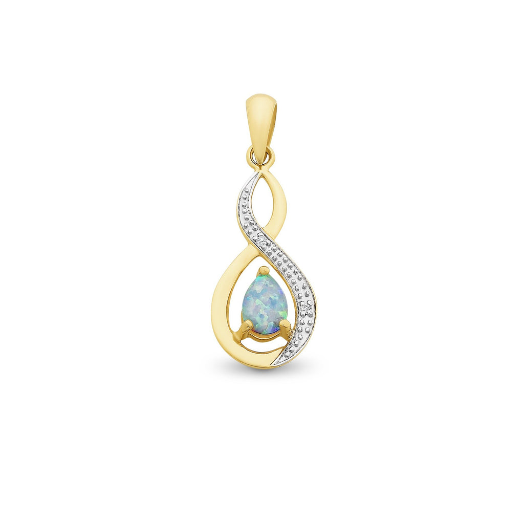 9ct Gold Created Opal and Diamond Pendant with Complimentary Plated Chain