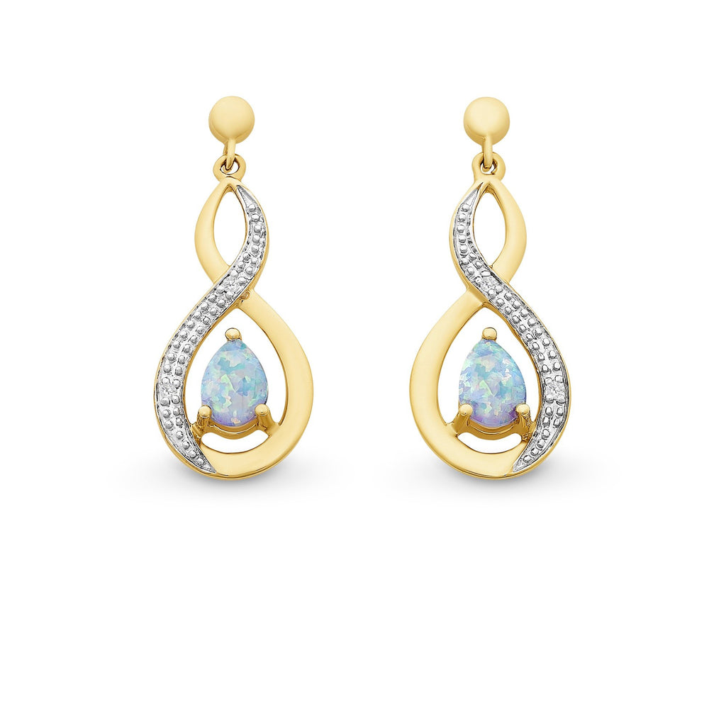 9ct Gold Created Opal and Diamond Earrings