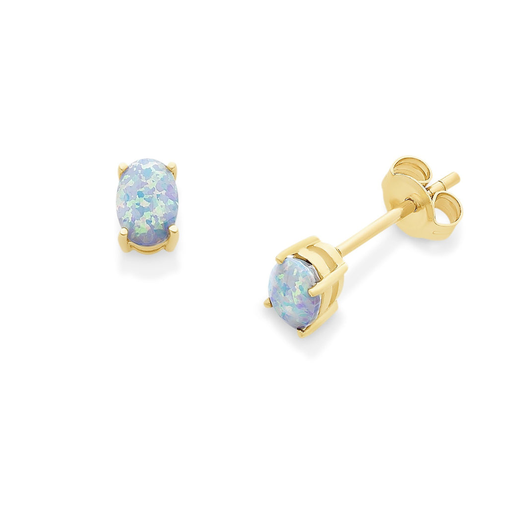 9ct Gold Created Opal Studs