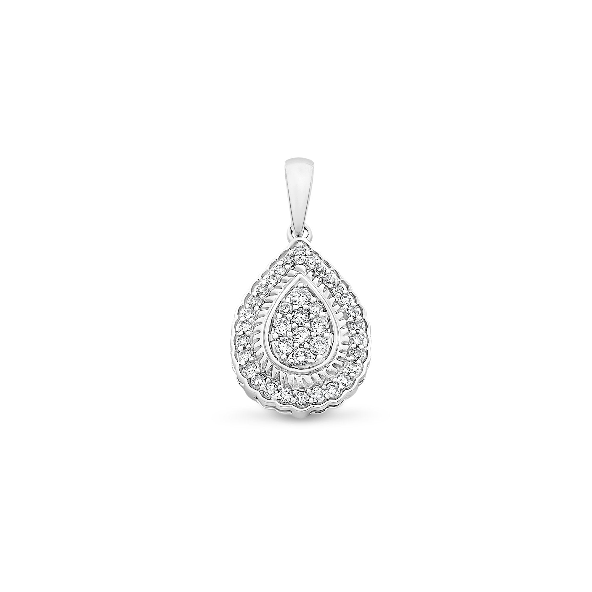 9ct White Gold 0.20ct TDW Diamond Pendant With Complimentary Chain