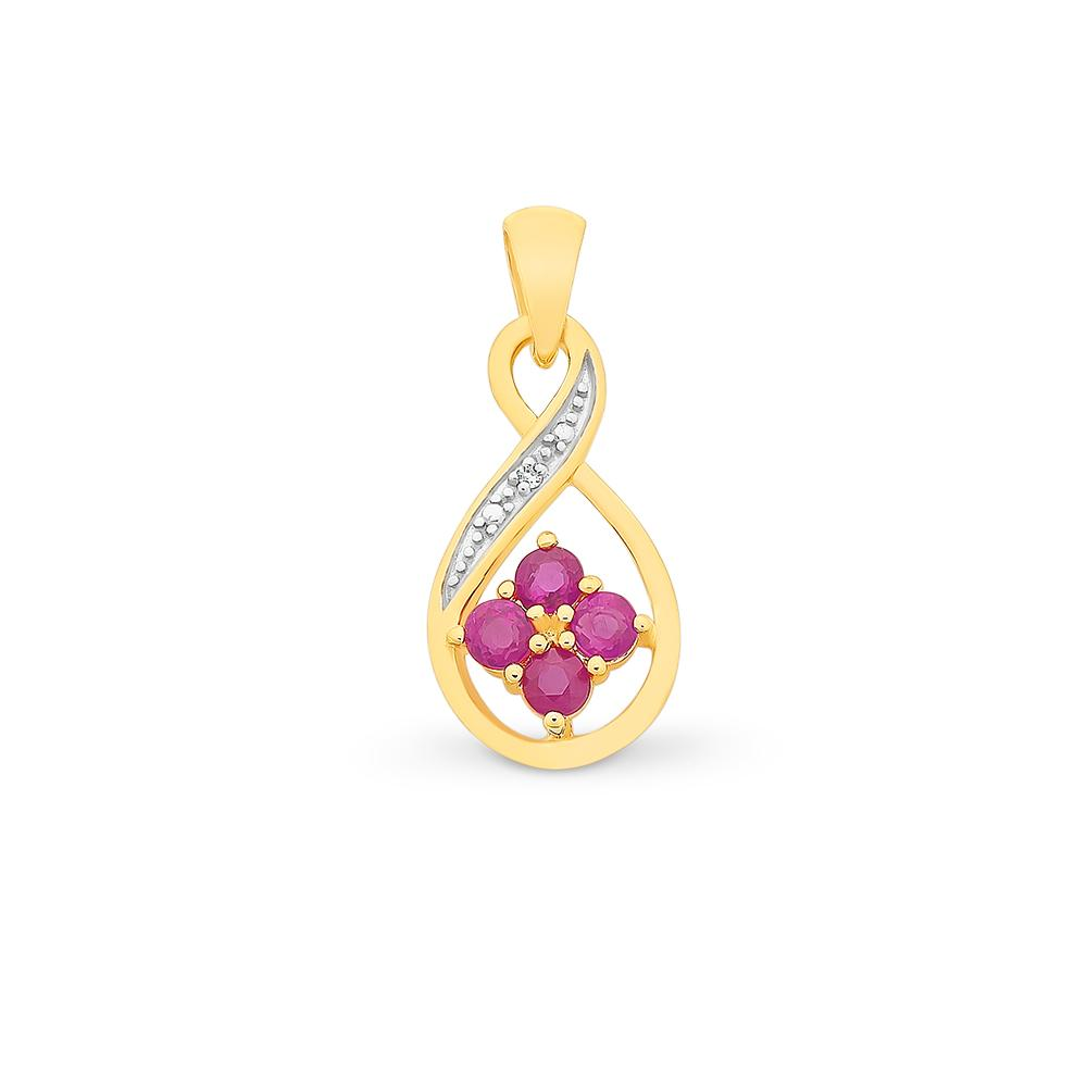 9ct Gold Natural Ruby & Diamond Pendant With Complimentary Chain