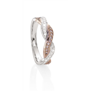 Desert Diamonds 9ct WG and RG natural pink and white diamond crossover ring