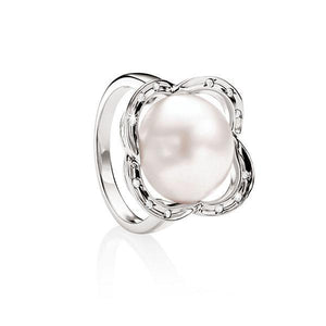 MP5566 Sterling Silver Mabe Pearl Ring with CZ