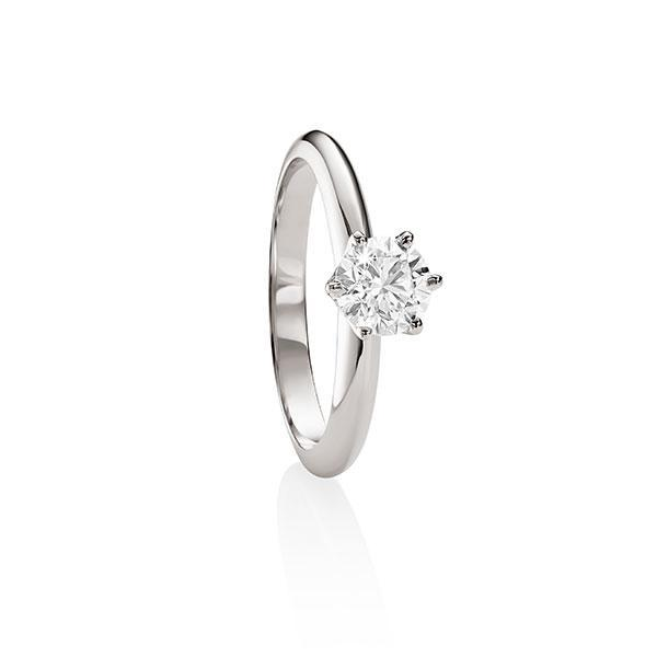 MP5596 18ct white gold 6 claw 0.50ct diamond solitaire ring.