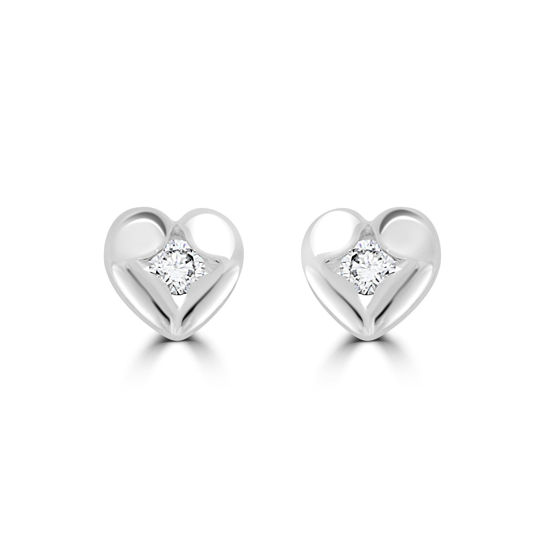 Sterling Silver And Cubic Zirconia (CZ) Heart Earrings Stud
