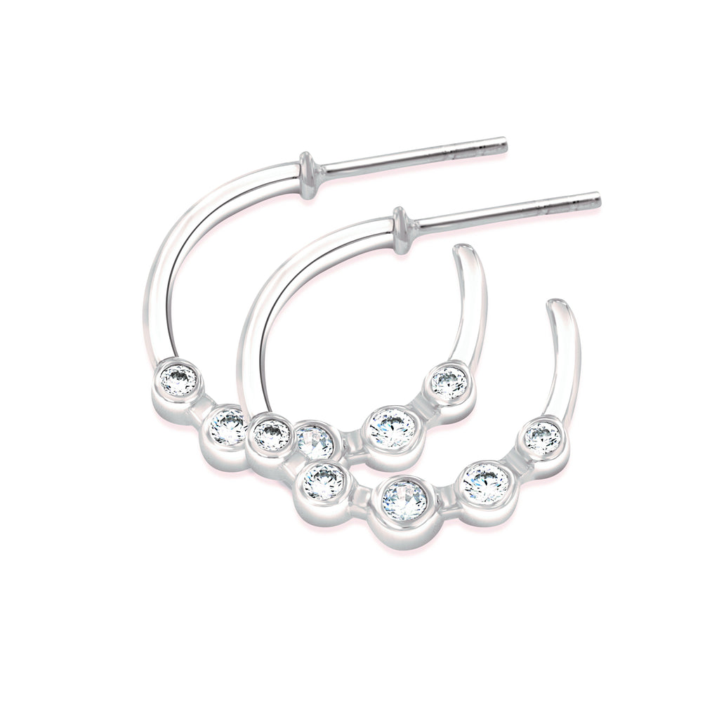 Sterling Silver And Cubic Zirconia (CZ) Half Hoops Earrings