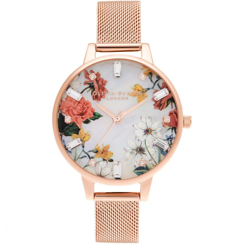 Olivia Burton Sparkle Floral MOP Dial Rose Gold Mesh Watch