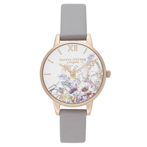 Olivia Burton Enchanted Garden Grey Lilac Leather Ladies Watch
