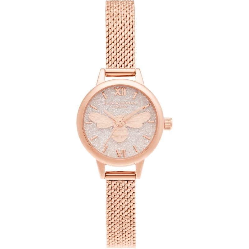 Olivia Burton Lucky Bee Blush glitter Mini Dial Rose Gold Boucle Mesh Watch