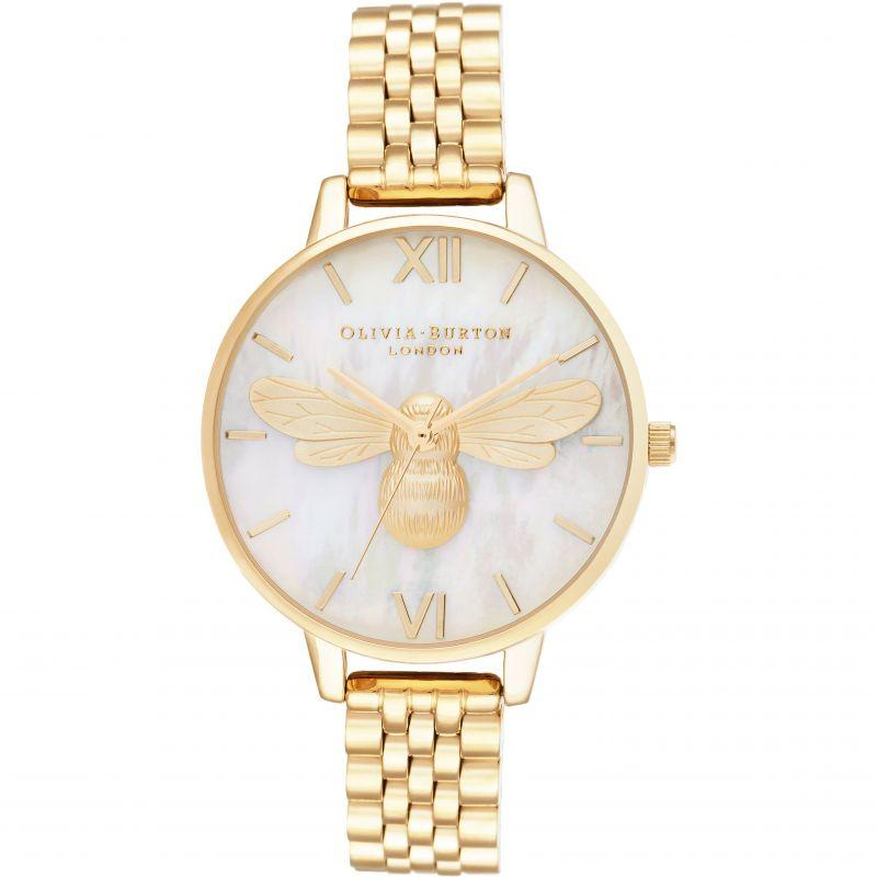 Olivia Burton Lucky Bee White MOP Demi Dial & Gold Bracelet Watch