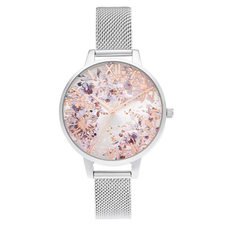 Olivia Burton Abstract Floral Demi Silver Mesh Women's Watch