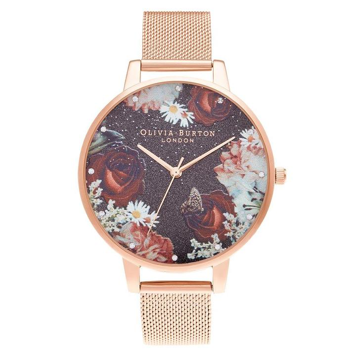 Olivia Burton Winter Blooms Rose Gold Mesh Women's Watch