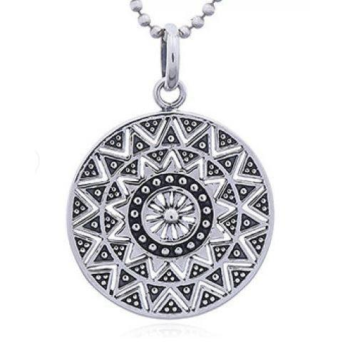 Sterling Silver Oxidised Mandala Pendant with Complimentary Chain