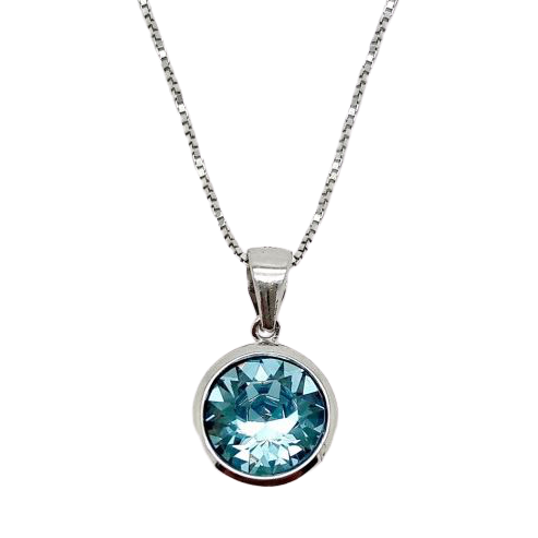 Sterling Silver Aqua Swarovski Crystal Pendant with Complimentary Sterling Silver Chain