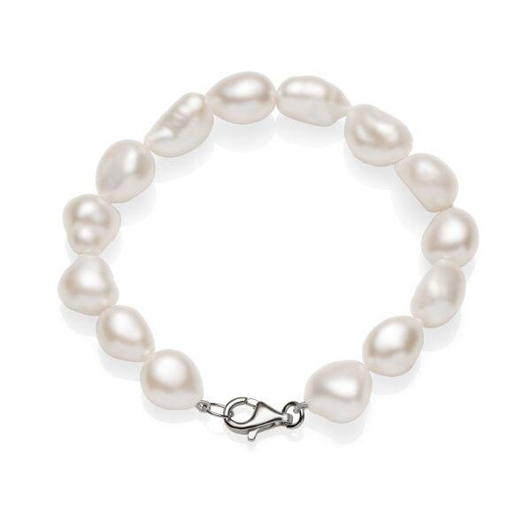 Sterling Silver Baroque Rice Pearl Bracelet