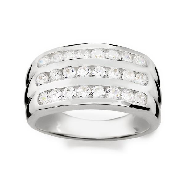 Sterling Silver Cubic Zirconia 3-Row Band