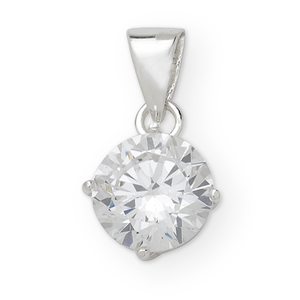 Sterling Silver Cubic Zirconia Pendant Complete With Sterling Silver Chain